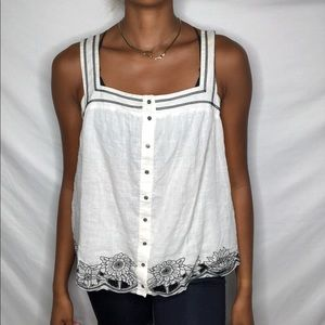 BCBGmaxazria top with liner white embroidered L